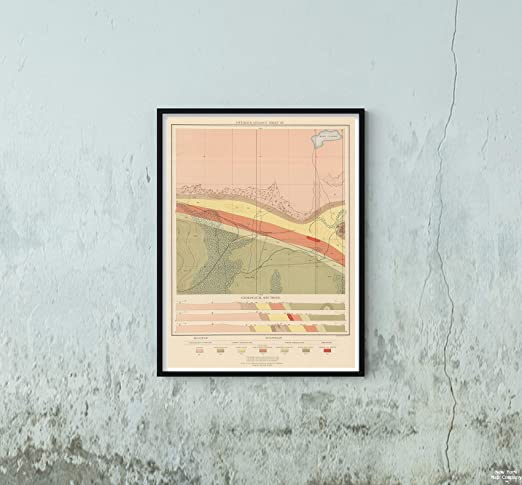 Amazon|1896年 地図 地質学 アトラス 細部までこだわった地質学 ...