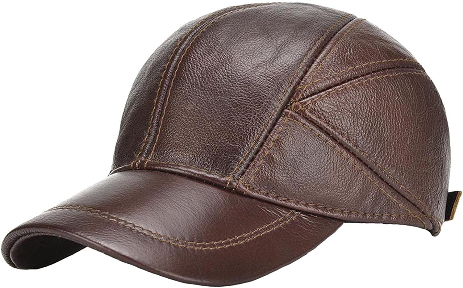 acdiac Men Cowhide hat Winter Warm Outdoor Protect Ear Real Leather Adjustable Baseball Cap