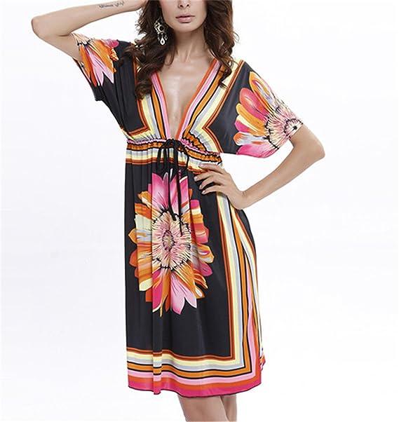 Robin Santiago New Fashion Beach Dress Summer Sexy Deep V Bohemian Print Women Clothes Vestidos De