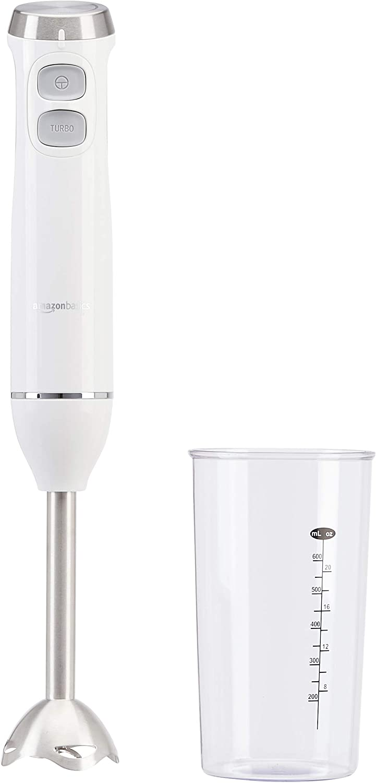 Amazon Basics - Batidora de mano de varias velocidades con vaso de precipitados, 600 W