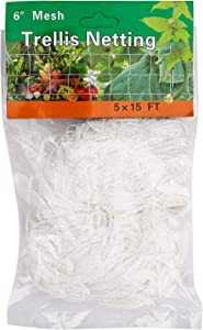 BetyBedy 5 x 15FT Trellis Netting, Heavy-Duty Polyester Plant Trellis Netting, Square Mesh Net for Climbing Plant, Fruits, Vegetables, Vines, Grow Tents (1 Pack, White)