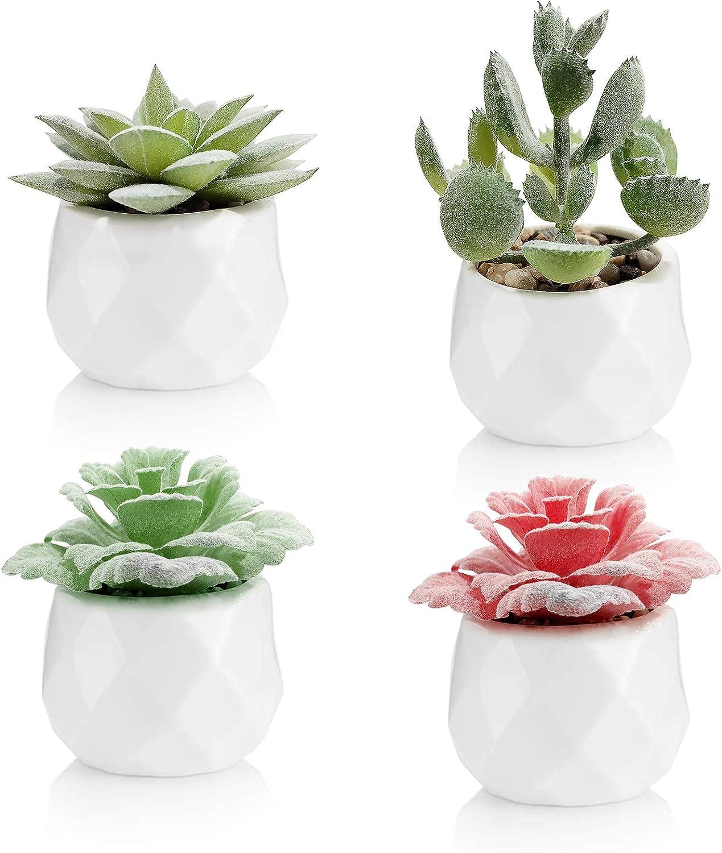 Diamerd Succulents Artificial in Ceramics Pots, Set of 4 Mini Create Realistic Fake Cactus Aloe Plants Decor and Fake Succulent Planters for Wedding Decorations (Ceramic Pot B)