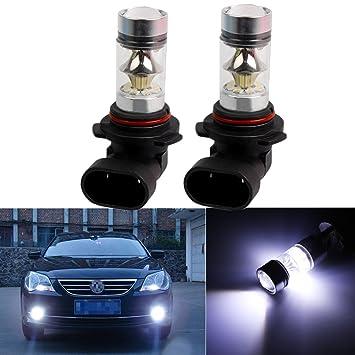 FEZZ LED Bombillas de Coche Auto LED 9006 100W Sharp 20SMD Lamparas Iluminación Para faros antiniebla DRL 6500K Blanco Frío (Paquete de 2): Amazon.es: Coche ...