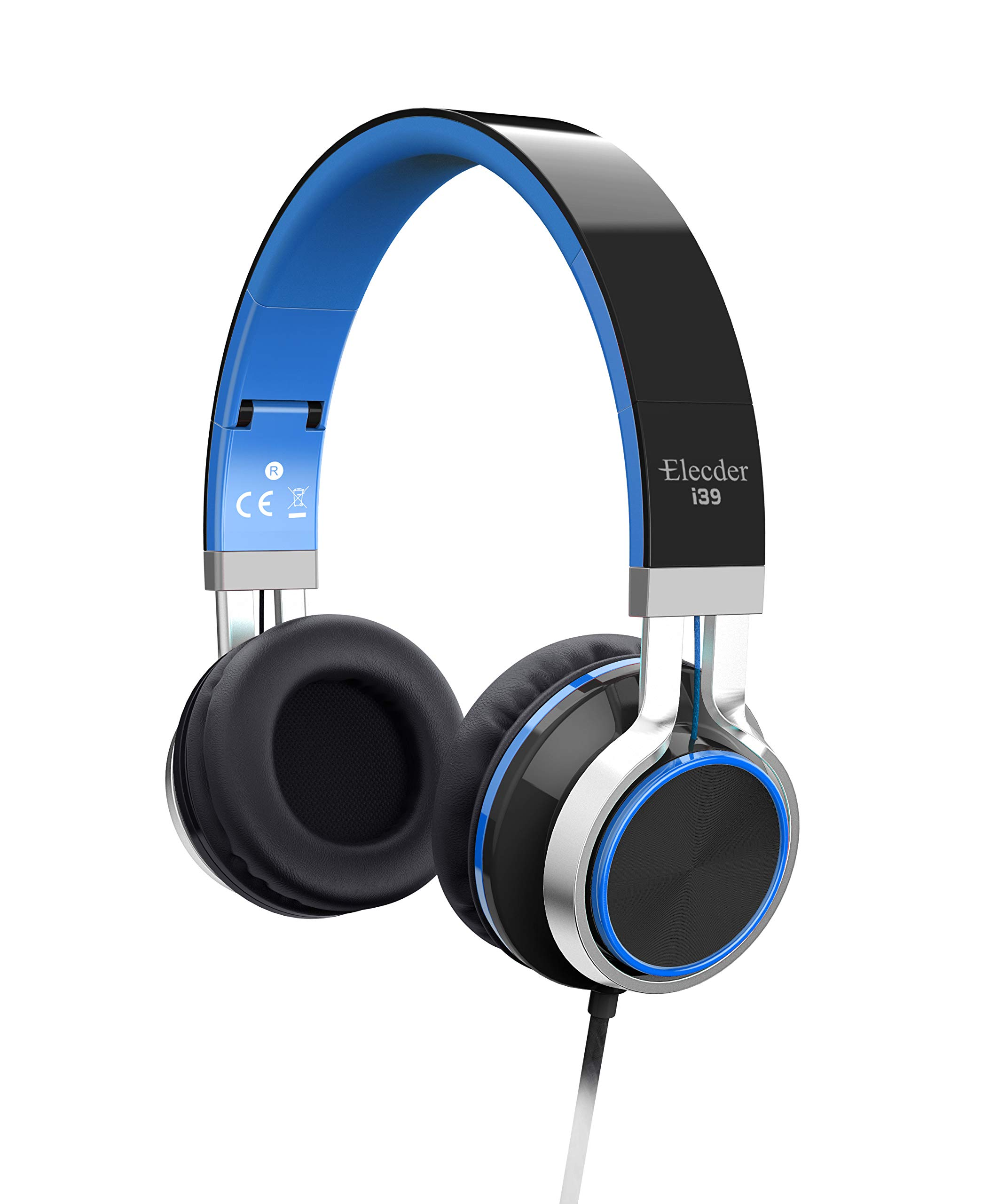 Elecder i39 Headphones with Microphone Kids Children Girls Boys Teens Foldable Adjustable Wired On Ear Headsets Compatible iPad Cellphones Computer MP3/4 Blue/Black