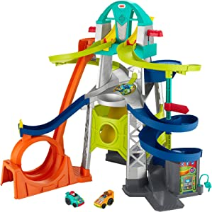 Fisher-Price Little People Launch and Loop Raceway, Vehicle Playset for Toddlers and Preschool Kids