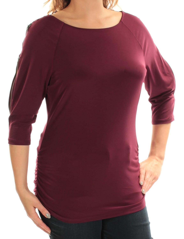 INC International Concepts Womens Cold-Shoulder Zipper Top