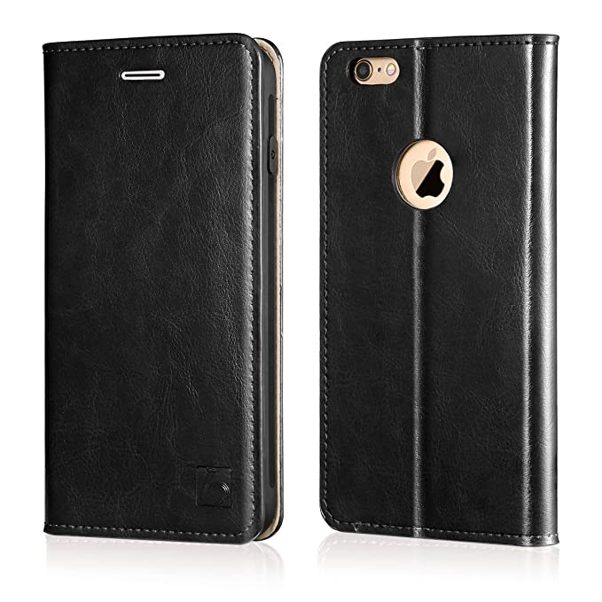 quality design e7d54 c6c82 Belemay iPhone 6s Plus Case, iPhone 6 Plus Case, Genuine Leather Case Slim  Wallet Flip Cover [Durable Soft TPU Inner Case] Card Holder Slots, ...
