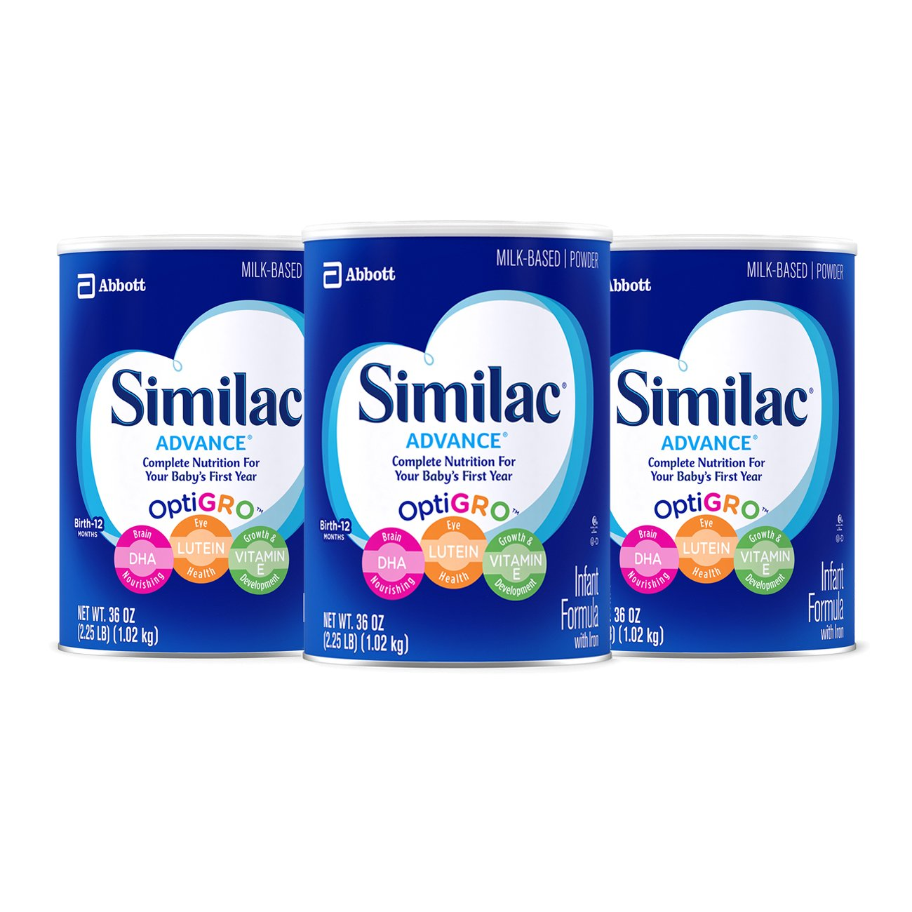 Similac Advance Infant Formula with Iron, Powder, One Month Supply, 36 Ounce (Pack of 3) by Similac (Image #1)