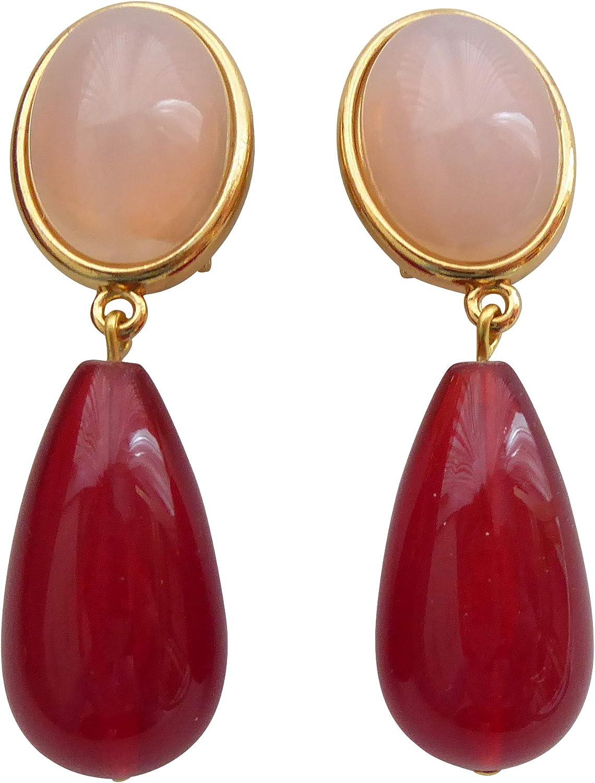 Pendientes ligeros y muy grandes, con piedra de color rosa (cuarzo rosa), colgante granate de color rojo gota en forma de gota