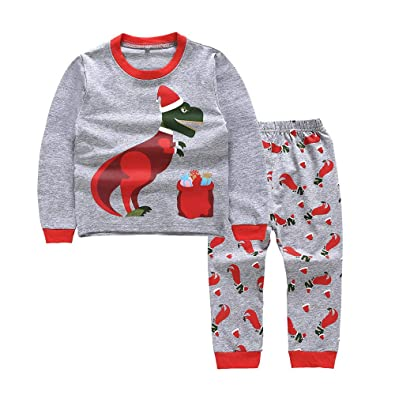 026c252ca Baby Clothes Set, Girls Boys Christmas Pajamas Dinosaur Printed Tops Trouser  Toddler Long Sleeve Shirts Blouse Pants Homewear 0-7 Years Old Kids Outfits