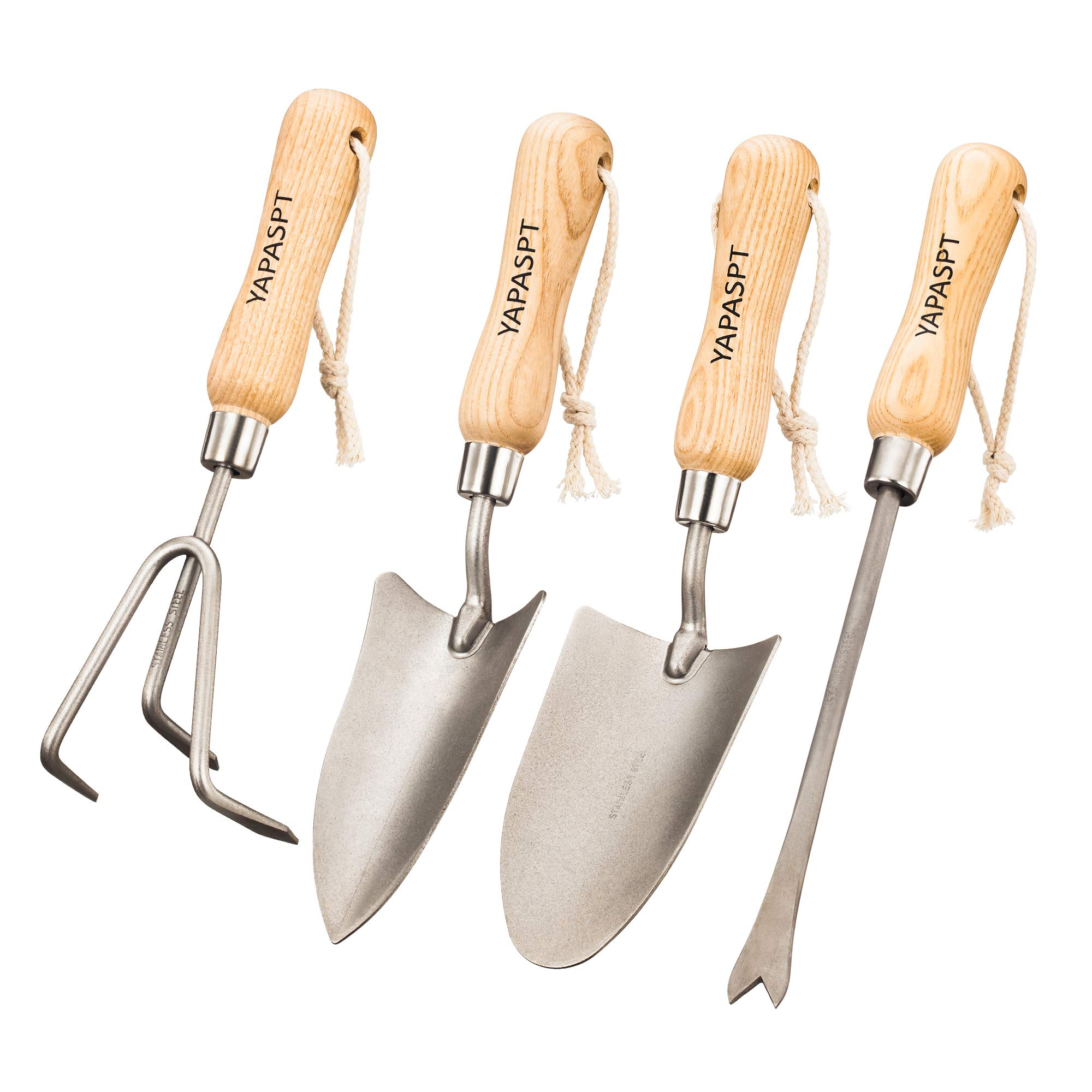 YAPASPT Gardening Tools - 4 Piece Heavy Duty Garden Hand Kit - Rust Resistant Garden Tool Sets with Trowel Cultivator Weeder for Flower and Vegetable Plants Care by YAPASPT
