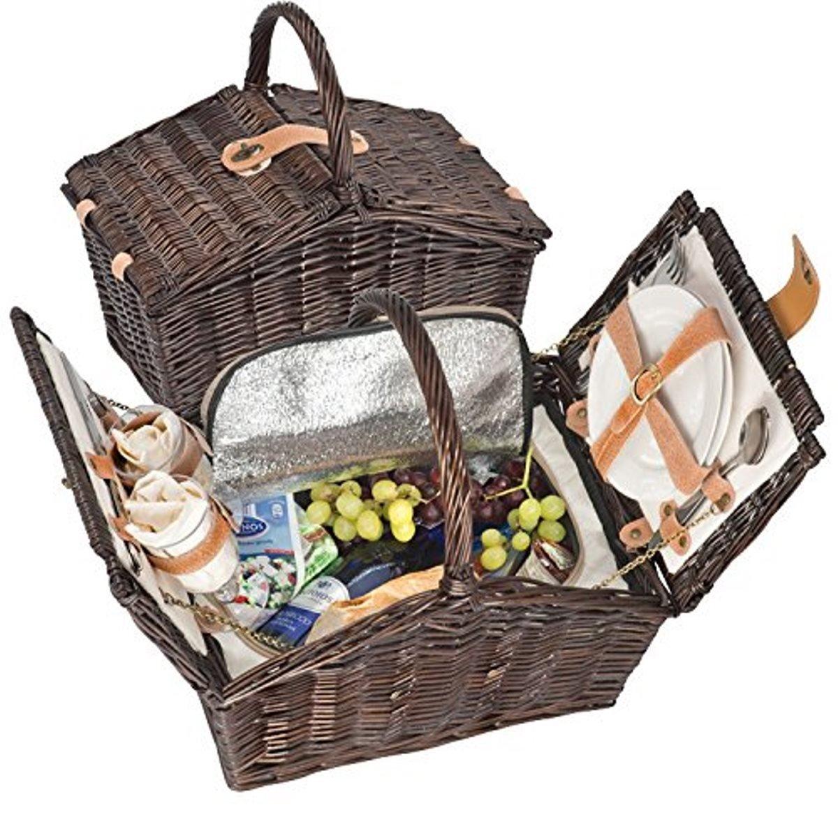 #Picknickkorb gefüllt für 2 Personen mit Kühltasche#