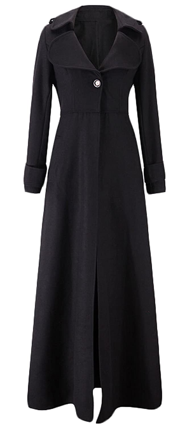 History of 1920s Coats, Furs and Capes GAGA Women Single Breasted Overcoat Long Trench Coat Outerwear $42.99 AT vintagedancer.com