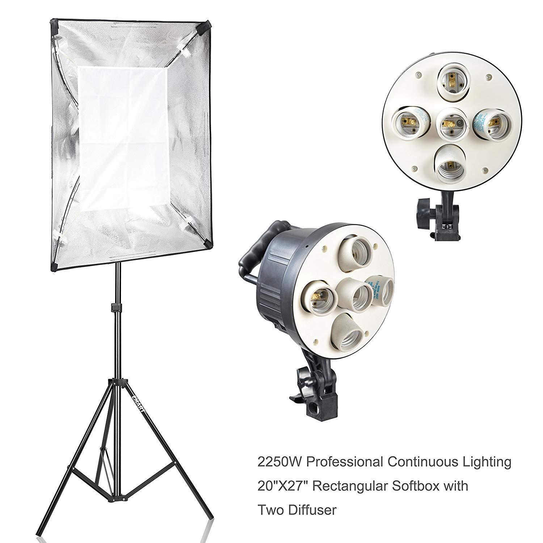 Emart Softbox Photography Lighting Kit,2250 Watt Continute Lighting Photo Studio Softbox 20'' x 28'', 10pcs E27 Video Lighting Bulb by EMART (Image #2)