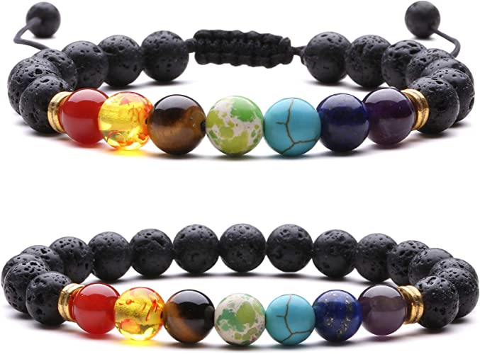 elastic Multicolored chakra bracelet emn and woman french handmade