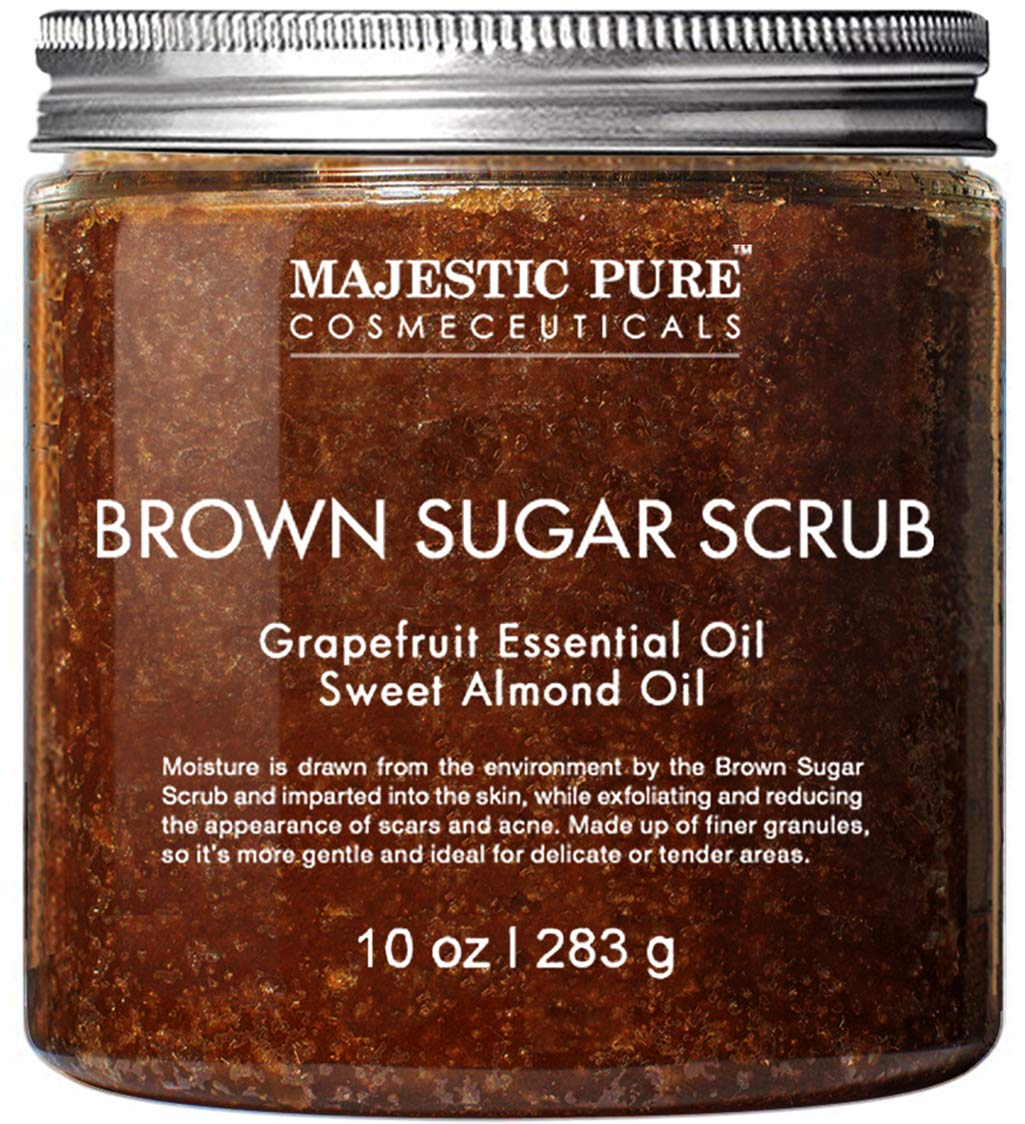Brown Sugar Body Scrub for Cellulite and Exfoliation – Natural Body & Face Scrub – Reduces The Appearances of Cellulite, Stretch Marks, Acne, and Varicose Veins, 10 oz