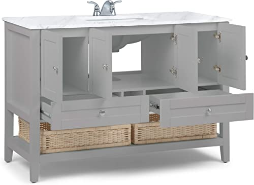 Simpli Home Cape Cod 48 inch Contemporary Bath Vanity in Warm Grey with White Engineered Quartz Marble Extra Thick Top