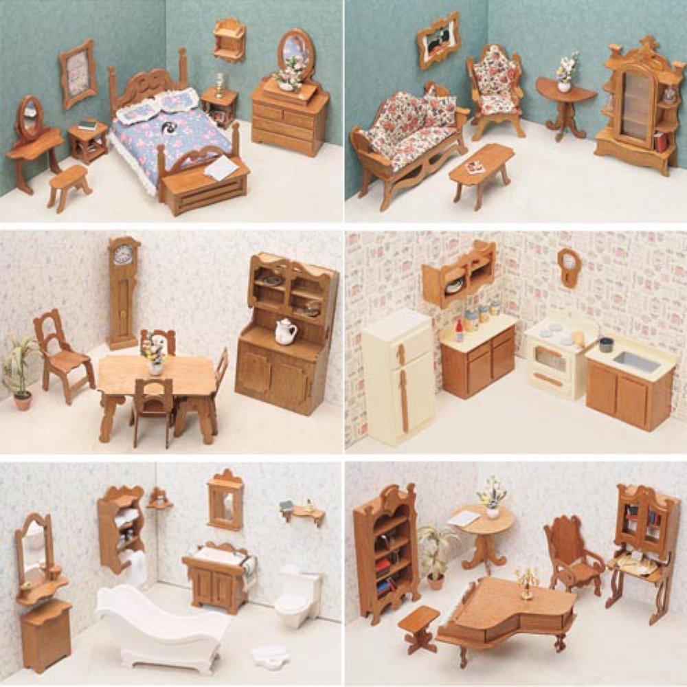 Amazon.com: Greenleaf 6 Room Furniture Kit Set 1 Inch Scale By Greenleaf  Billiards: Toys U0026 Games