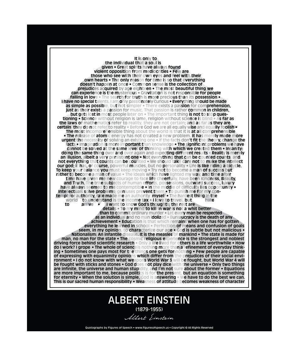 """Inspirational Albert Einstein Quotes Poster. Albert Einstein Print Made of Albert Einstein Quotes! Albert Einstein Wall Art. Home Decor. Portrait. 24""""x 30"""" (unframed)"""