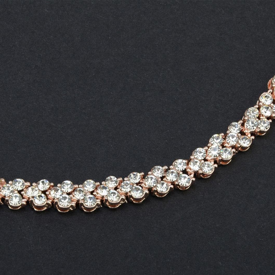 Silver Xshuai Size:16.5CM Bracelet en Cristal de Diamant mode Femme Id/ée Cadeaux bijoux pour femmes et filles Style romain