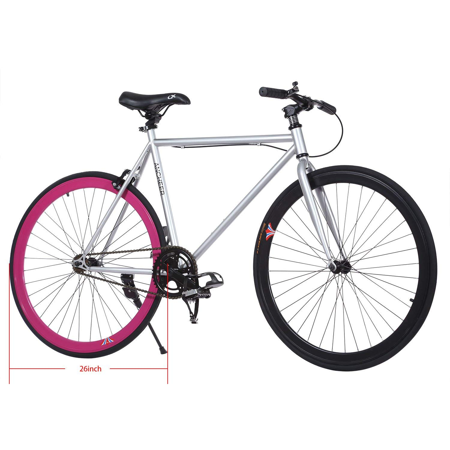 ANCHEER Fixed Gear Bike Single Speed Urban Fixie E-Bike for Adults Four Seasons Traveling Caping