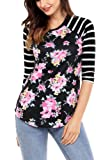 Grace Elbe Women's Casual Striped 3/4 Sleeve Floral Print Blouse Tops On Clearance