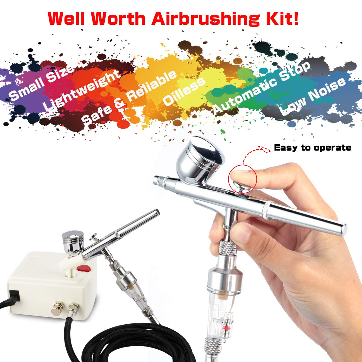 Airbrush Kit,Fy-Light 3 Modes Dual-Action Airbrush Set with Mini Compressor 0.2mm Needle 2CC Cup Cleaning Kit for Makeup,Nail Cake Decorating Craft Tattoo Hobby