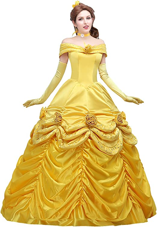 Adult Belle Costume Princess Dress for Women Classic Ball Gown Dress with Gloves