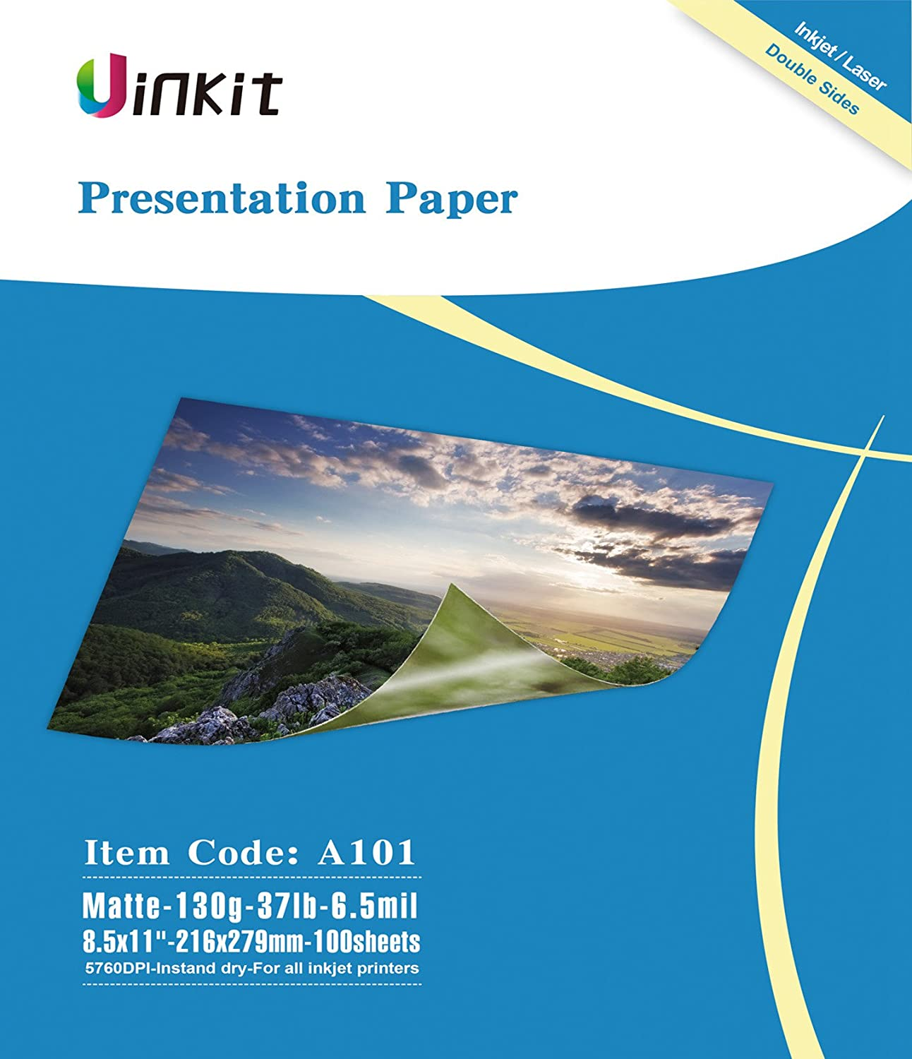 Presentation Paper Matte 8.5x11-100Sheets Uinkit Double Side Matt Paper 6.5 Mil 130Gsm For laser and Inkjet Printer
