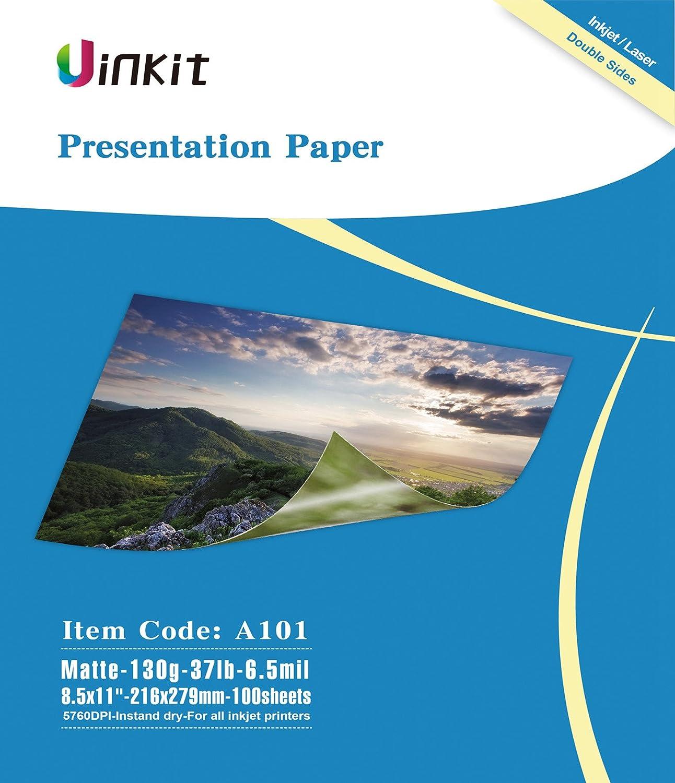 Presentation Paper Matte 8.5x11-100Sheets Uinkit Double Side Matt Paper 6.5 Mil 130Gsm For laser and Inkjet Printer
