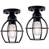 YaoKuem Flush Mount Ceiling Light Fixture, E26 Medium Base, Metal Housing, Bulbs NOT Included, 2-Pack (Oil Rubbed Bronze…
