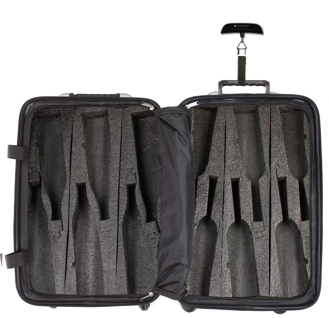 Bundle - 2 items: VinGardeValise 12 Bottle Wine Travel Suitcase, FlyWithWine Digital Luggage Scale - Black