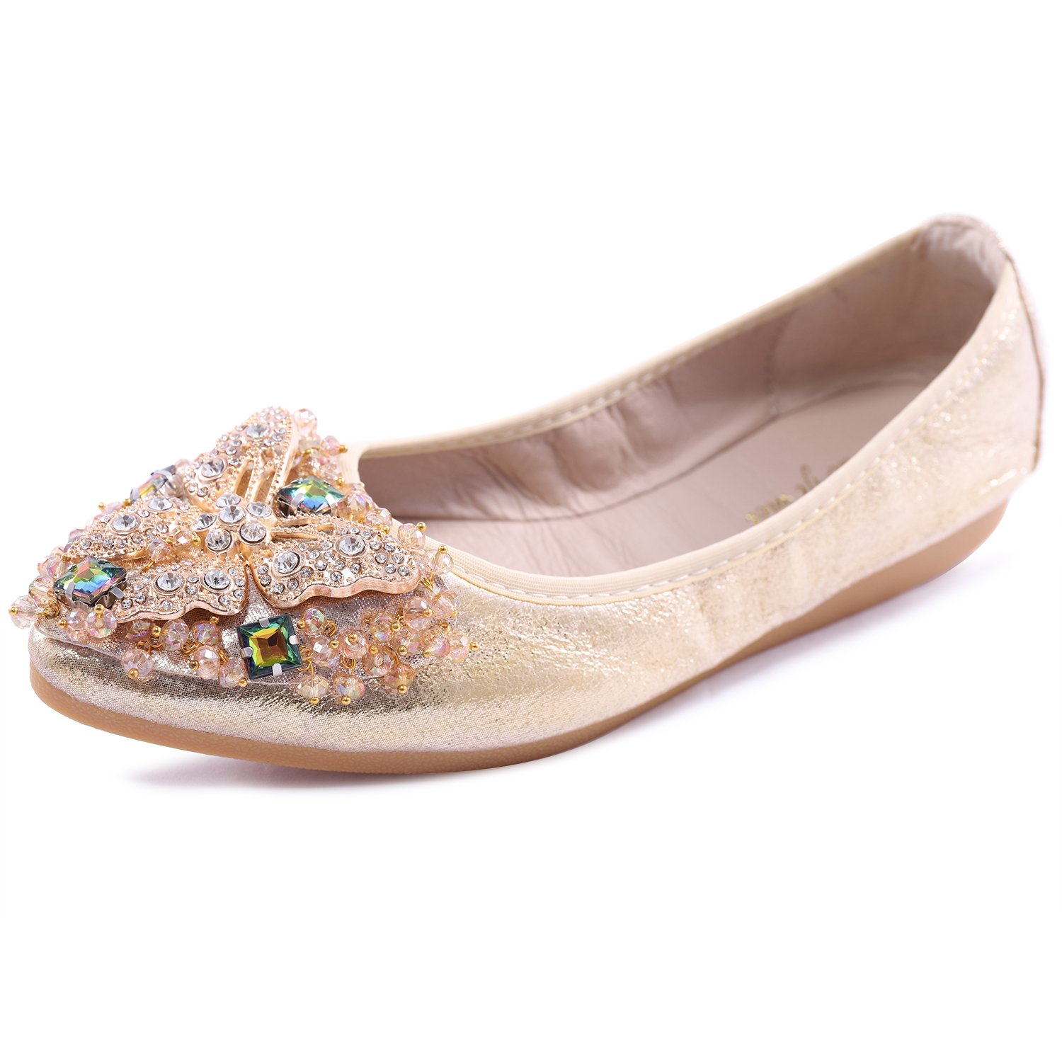 Cattle Shop Womens Foldable Soft Ballet Flats Bling Rhinestone Comfort Slip On Loafers Walking Shoes