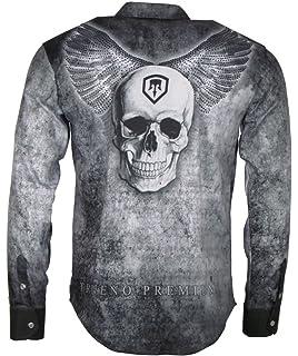 94348789f95329 Trueno Herren Freizeit Hemd - Langarm Oberteil - mit Strass Steinen im  Motiv - Skull Wings