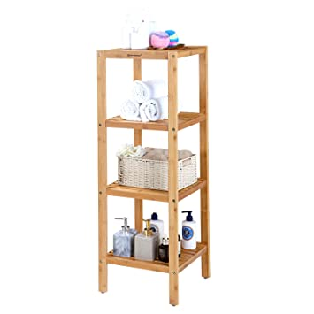 SONGMICS 100% Bamboo Bathroom Shelf 4 Tier Multifunctional Storage Rack  Shelving Unit 38 5