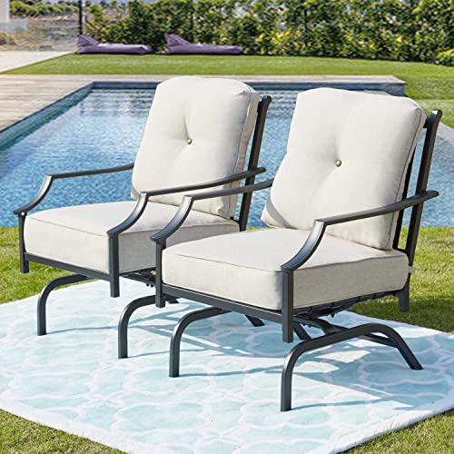 PatioFestival Rocking Patio Chairs Outdoor Metal Furniture Motion Spring Patio Chair Black Metal Dining Bistro Set