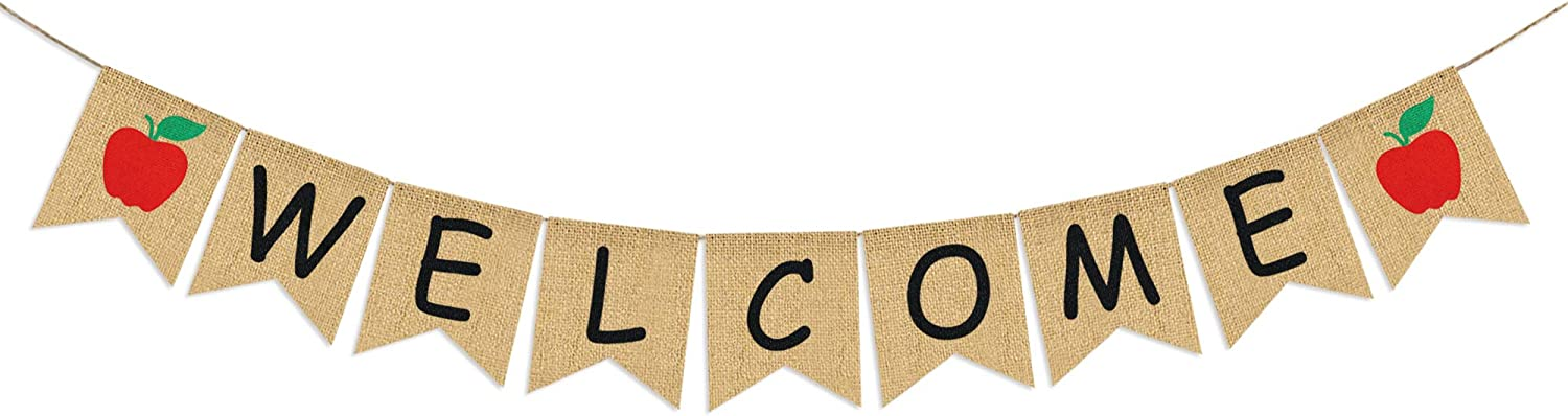 Welcome Banner Burlap - First Day of School Banner - Teacher Banner - Classroom Decor- Back to School Decorations - Office Decor - Welcome Banner for Party