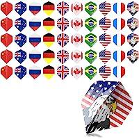 kwmobile - Plumas de Dardos (50 Unidades, Varios diseños, para Dardos de Acero o Punta Blanda, 5 de Cada diseño/Color), Multicolor