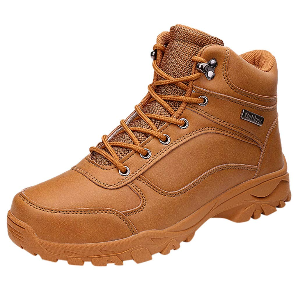 〓COOlCCI〓Men's Mid Waterproof Ankle Boot, Waterproof Hiking Boot Lace up Chelsea Boot Motorcycle & Combat Boot Safety Yellow by COOlCCI_Men Shoes