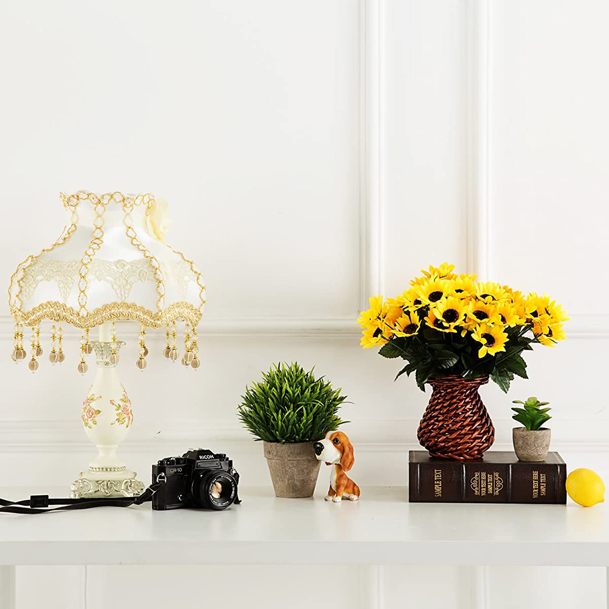 Velener Artificial Silk Sunflower with Rattan Vase Daisy Arrangement for Home Decor (6 Bunches)