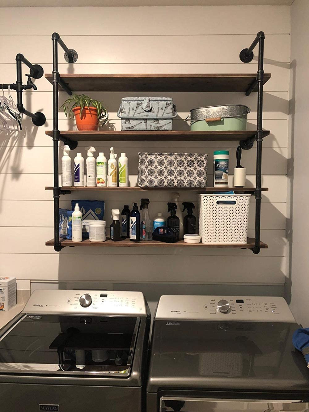 Industrial Pipe Shelving Metal Floating Shelves,Rustic Kitchen Wall Shelf Wood Hanging Shelf,48in Steampunk Large Pipe Shelves Wall Mounted,Bar Bookshelves Farmhouse Shelving Bookshelf (4 Tier)