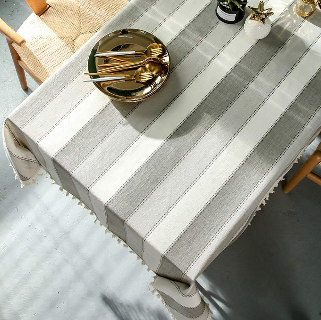 LDDZB Table Clothfabric Solid Woven Floral Washable Fade Resistant for Easter Sideboard TableHome & Kitchen Dining Room Tables (Color : Gray, Size : 140140cm) by LDDZB