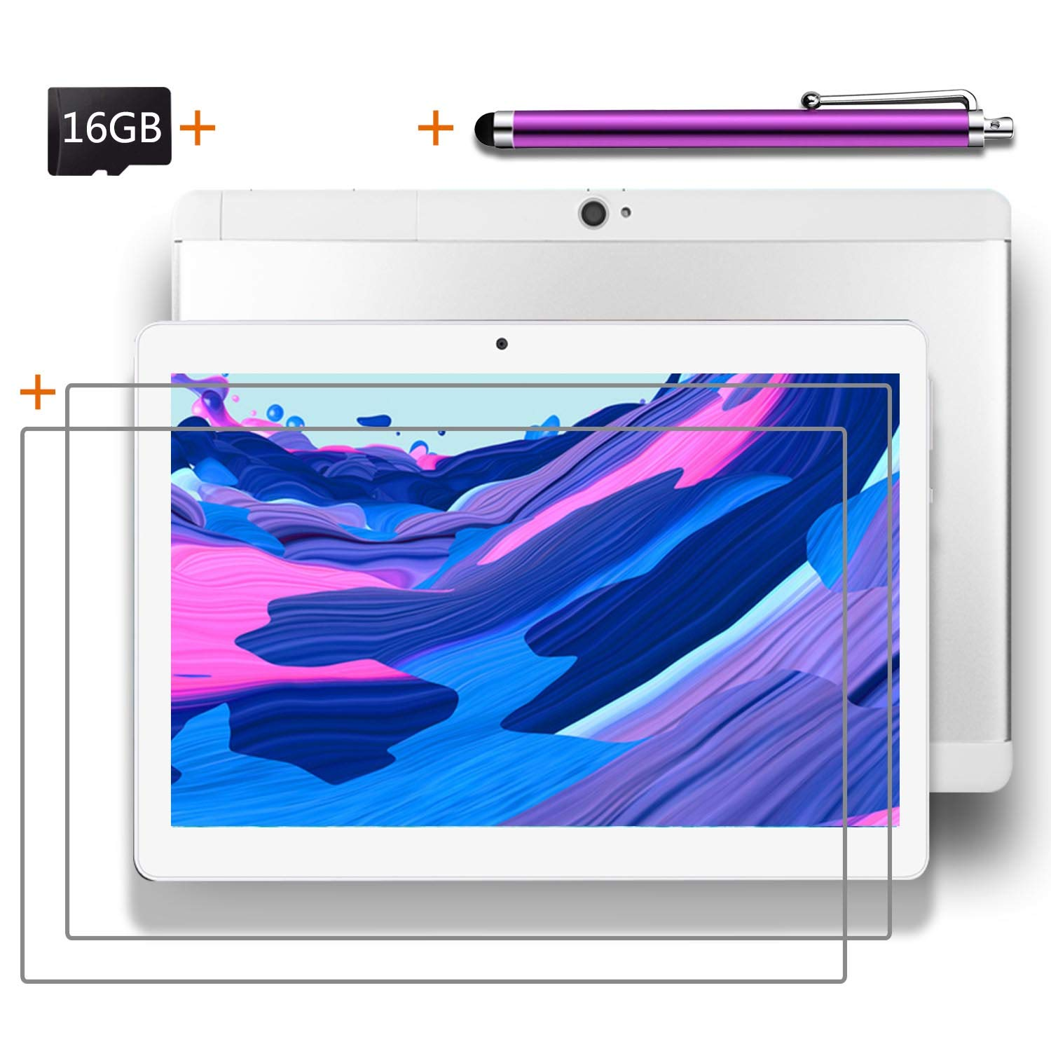 Android Tablet 10 inch with SIM Card Slot Unlocked +(2) Screen Protector +16GB SD Card +(1) Stylus Pen - IPS Screen 3G Phablet with WiFi GPS Bluetooth Tablets - Silver & White (1GB+16GB)
