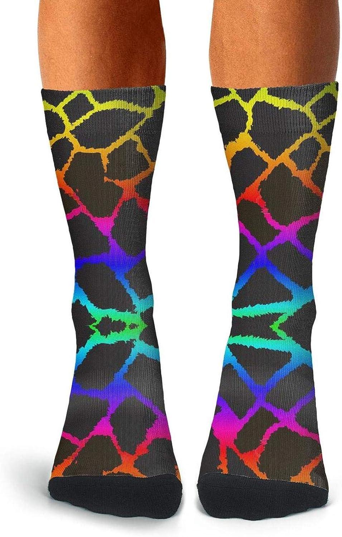 Mens Cool Giraffe Animal Socks Running Crew Tube Socks