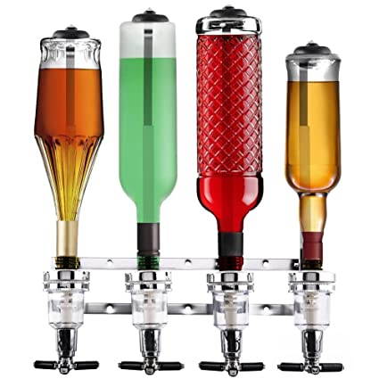 Bakaji Dispensador a Pared 4 Botellas Dispensador Dosificador Licor , Dispensador bebidas licor bar Butler,