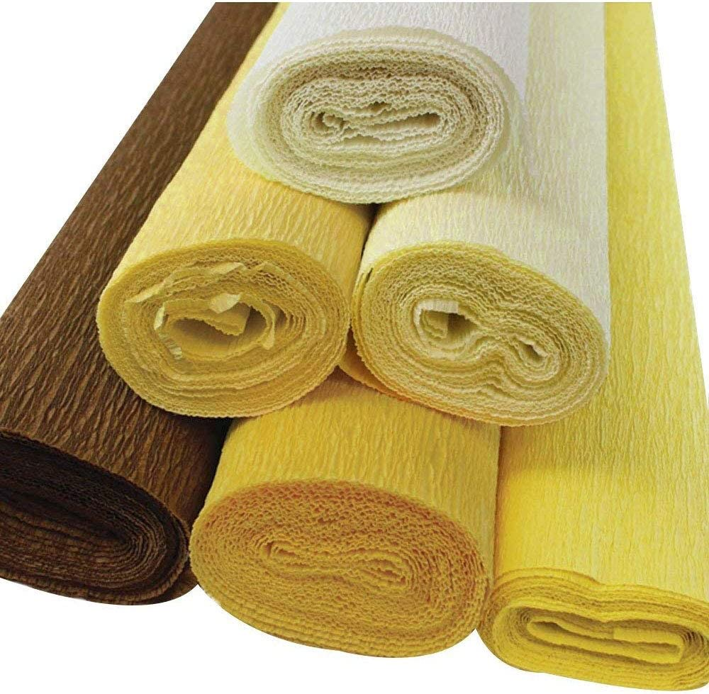 6pcs, Color: Yellows 8ft Length//20in Width Just Artifacts 90g Premium Crepe Paper Roll