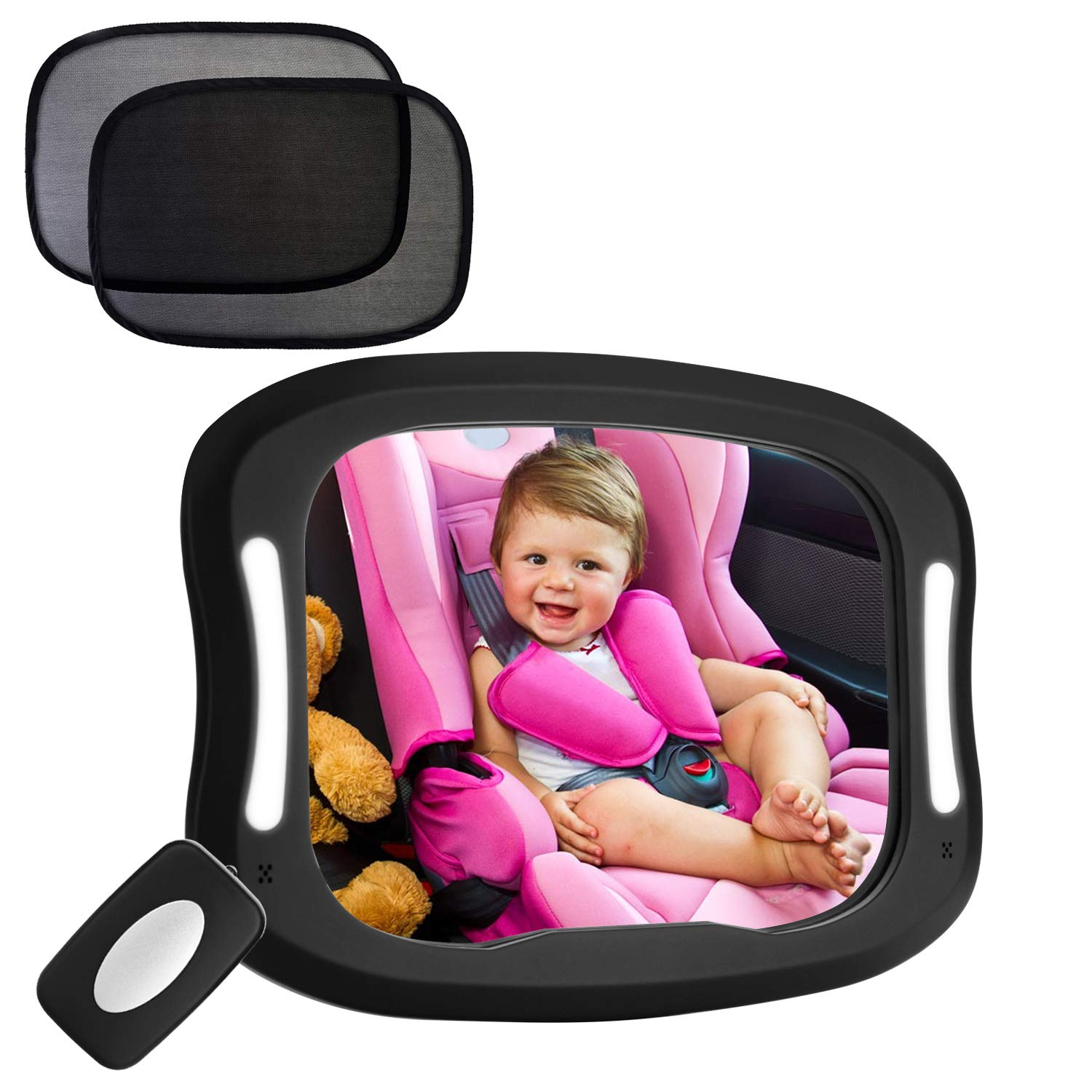 FITNATE Led Baby Car Mirror 360° Rotatable BIG CLEAR Rear view Facing Newborn Infant with 2 Car Sun Visors BB0020