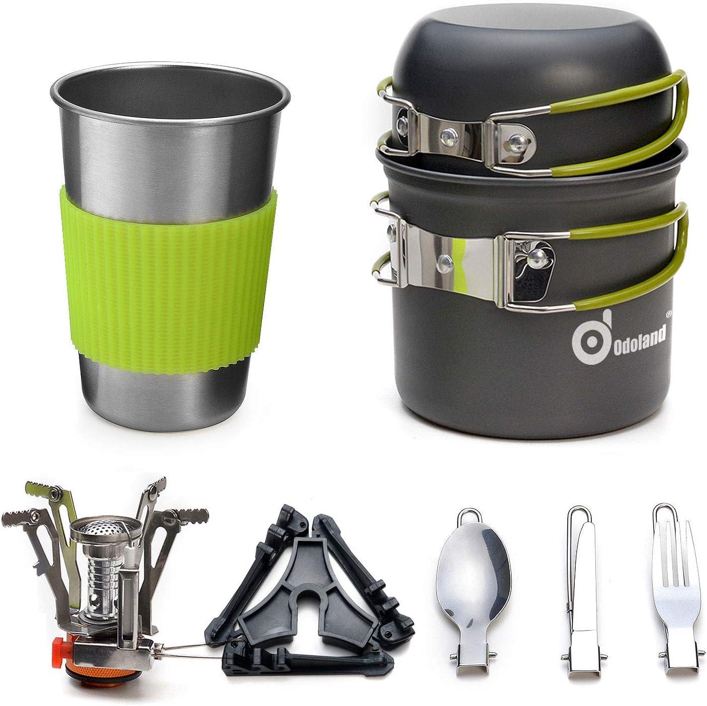 Odoland Utensilios Cocina Camping Kit con Ollas Camping y Sartén de Aluminio, Estufa Trekking, Taza de Acero Inoxidable, Cubiertos Plegable - ...