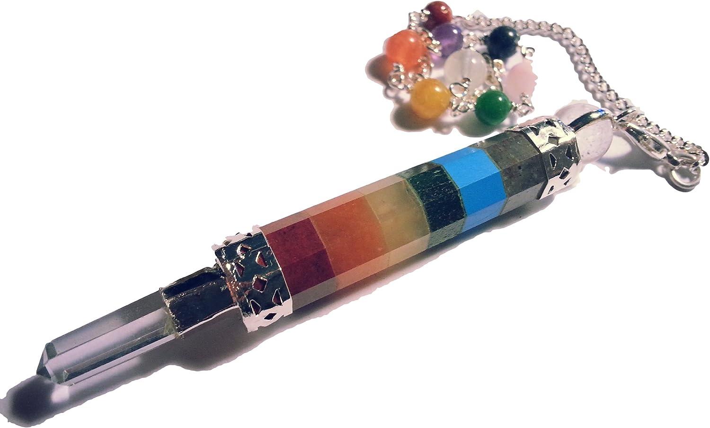 Tripartito 7 Chakra péndulo de piedras preciosas Bolas de navidad de cristal de roca con individual y punta