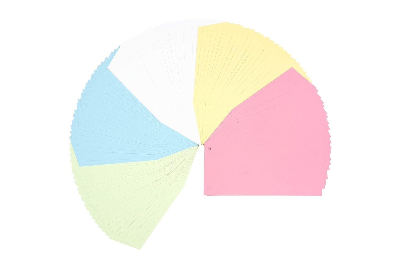 assortiti carte da 180 g//m2 linguette colorate per una perfetta separazione della cartella DIN-A4 perfect line 100 pezzi divisori di carta in forma trapezoidale divisori in 5 colori pastel